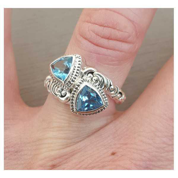 Silber ring set mit zwei blau-Topase 16,5 mm