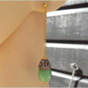 Ohrringe mit Chrysopras und Kristalle