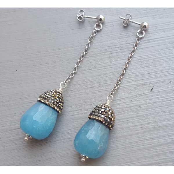 Ohrringe mit Angeliet und Kristalle