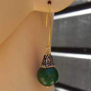 Oorbellen met Emerald groene Jade en kristallen