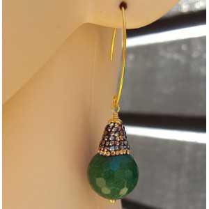 Ohrringe mit Smaragd grüner Jade und Kristalle
