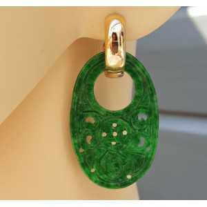 Creolen met ovale hanger van groene Jade