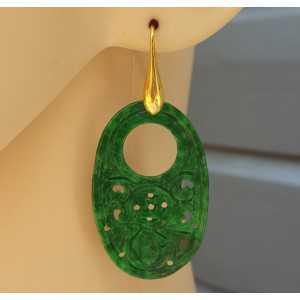 Oorbellen met ovale hanger van groene Jade