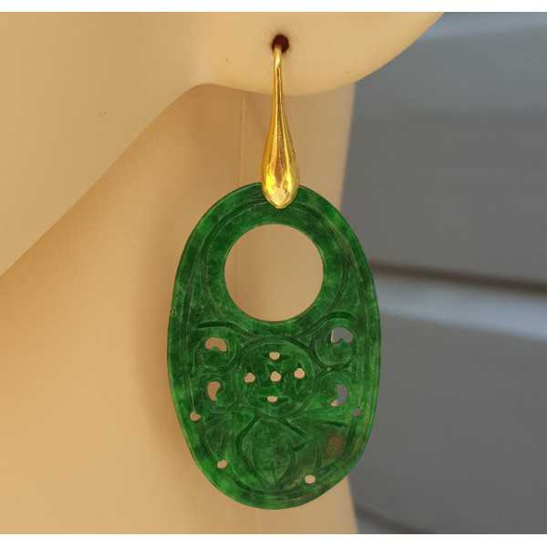 Ohrringe mit ovalem Anhänger aus grüner Jade