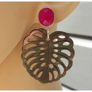 Ohrringe Blatt Blacklip-Muschel und fuchsia rosa Chalcedon
