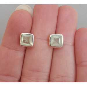 Silver oorknoppen set with square its color