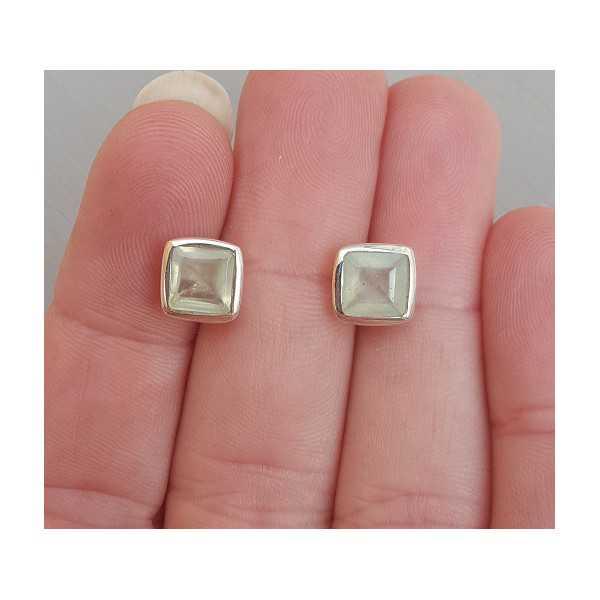 Silber oorknoppen set mit Quadrat seine Farbe