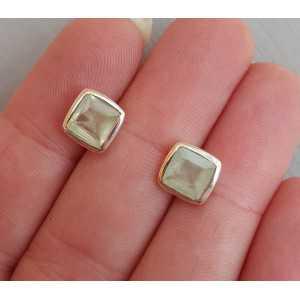 Zilveren oorknoppen gezet met vierkante Prehniet
