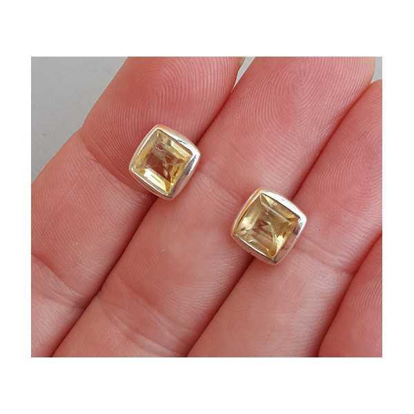 Zilveren oorknoppen gezet met vierkante facet Citrien