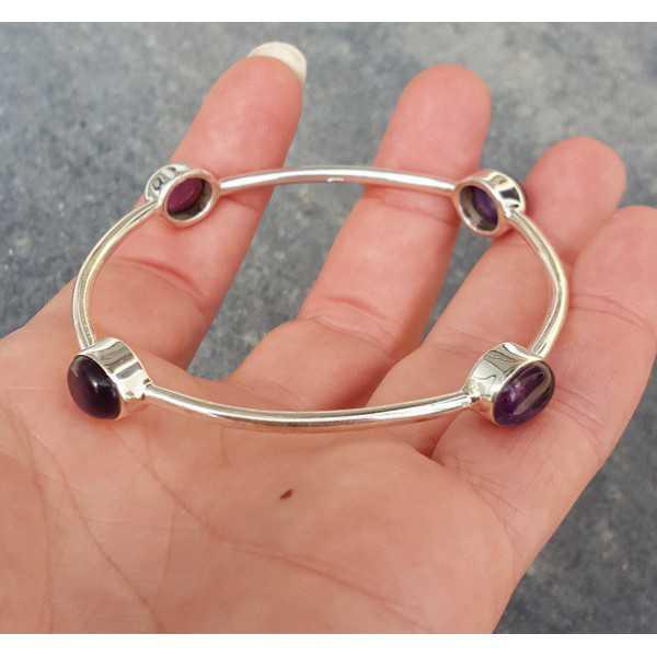 Silver bracelet / bangle set with Amethyst