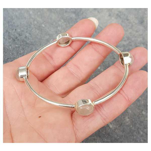 Silver bracelet / bangle set with rose quartz