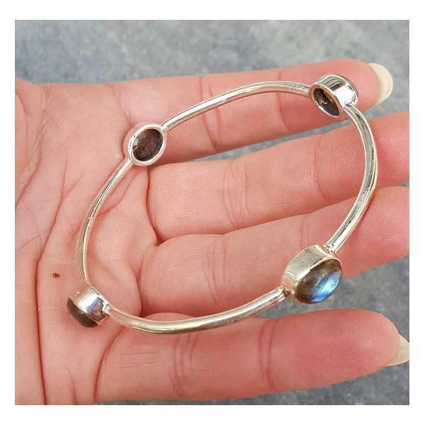Silver bracelet / bangle set with oval Labradorite
