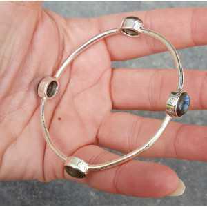 Silber Armband / Armreif-set mit ovalen Labradorit