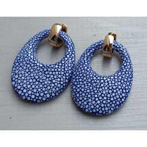 Vergoldete Kreolen mit ovalem Anhänger der blau Roggenleer