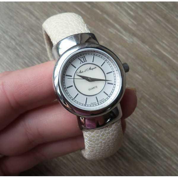 Silver watch / Armband Creme Roggenleer