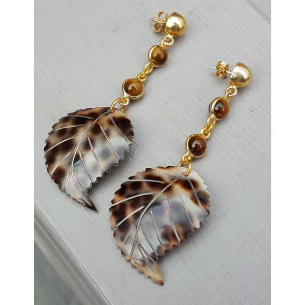 Goud vergulde oorbellen met Tijgeroog en blad van schelp