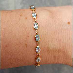 Rosé-vergoldetes Armband-set mit blauen Topase