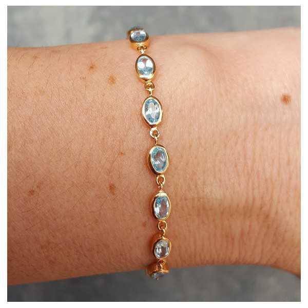 Rosé gold-plated bracelet set with blue Topazes