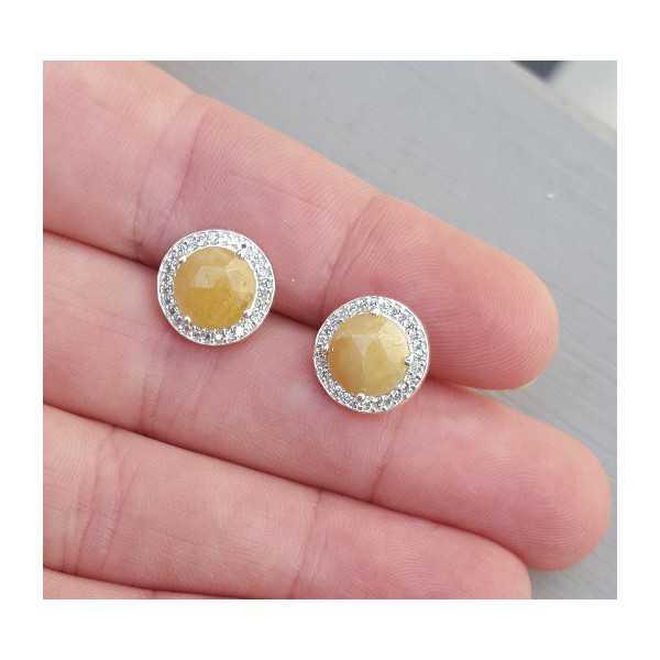 Silber oorknoppen-set mit gelbem Saphir und Zirkonia