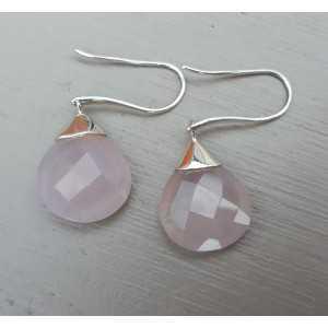 Zilveren oorbellen roze Chalcedoon