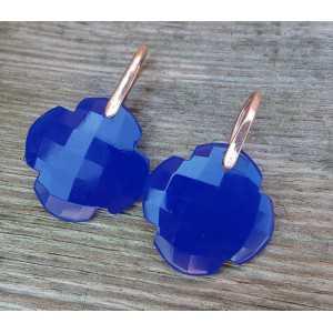 Ohrringe mit Klee cobalt blue Chalcedon
