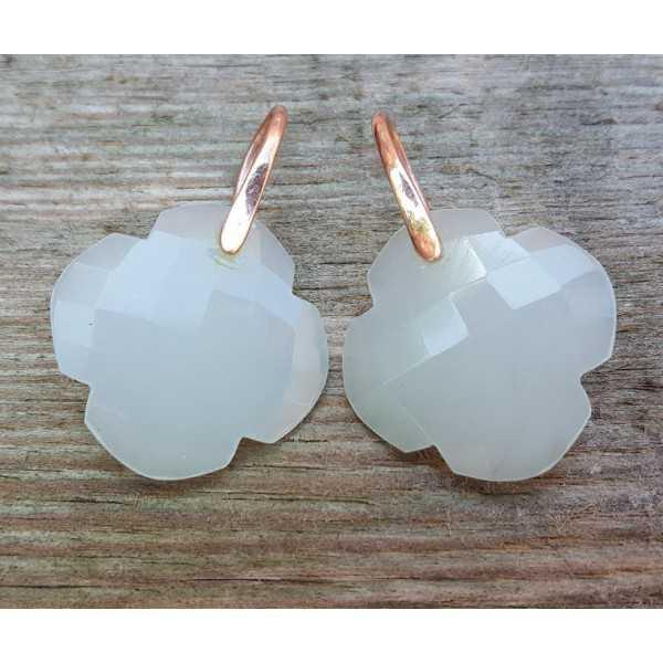Ohrringe mit Klee weißer Chalcedon