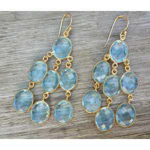 Goud vergulde waterval oorbellen met blauw Topaas quartz