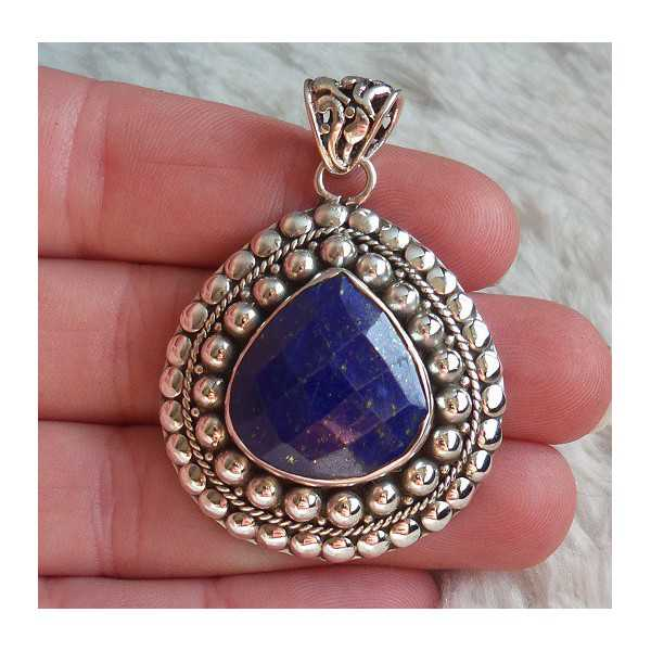 Silver pendant drop shape faceted Lapis in any setting