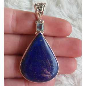 Zilveren hanger gezet met Topaas en Lapis Lazuli