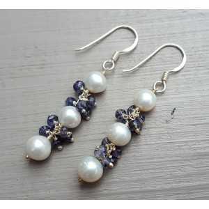 Silber Ohrringe mit Perle und Ioliet