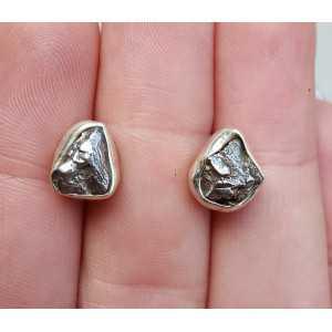 Silber oorknoppen mit Meteorit Campo del Cielo