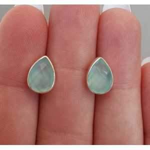 Silver oorknoppen with teardrop faceted aqua Chalcedony