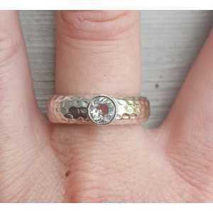 Zilveren ring gezet met ronde groene Amethist 19 mm