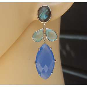 Zilveren oorbellen met Labradoriet, aqua en blauw Chalcedoon