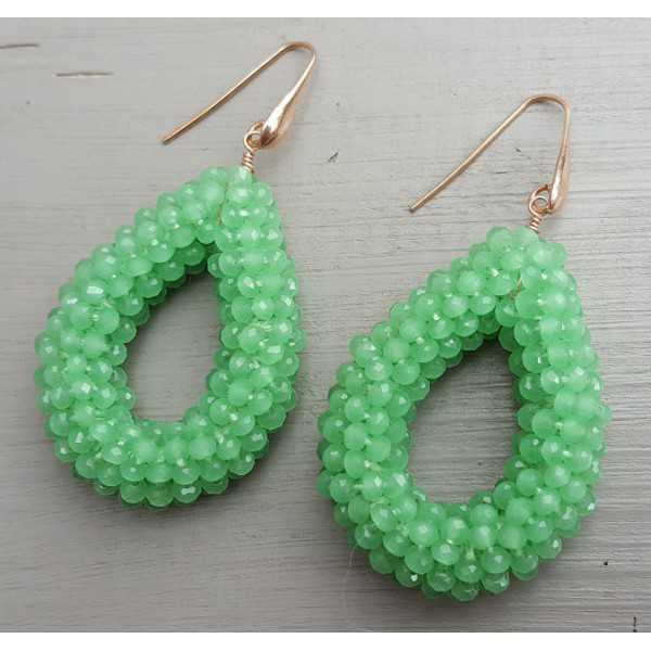 Ohrringe mit offenem Tropfen Apfel-grün Kristalle