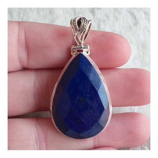 Zilveren hanger met druppelvorm facet Lapis Lazuli