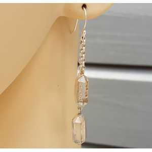 Zilveren lange oorbellen gezet met Herkimer Diamant