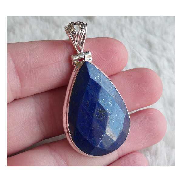 Silver pendant with drop shape faceted Lapis Lazuli