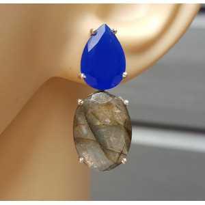 Zilveren oorbellen met kobalt blauw Chalcedoon en Labradoriet