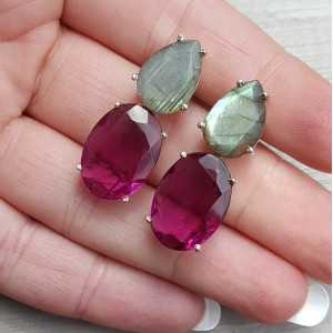 Silber Ohrringe mit rosa Turmalin, Citrin und Labradorit