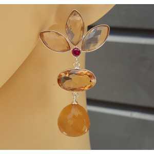 Silber-Ohrhänger mit Champagner Topas und orange Chalcedon