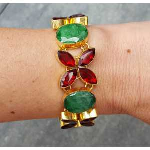 Gold plated bracelet set with Garnet and Emerald