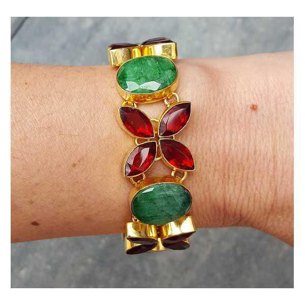 Goud vergulde armband gezet met Granaat en Emerald