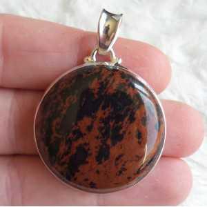 Zilveren hanger gezet met ronde mahonie Obsidiaan