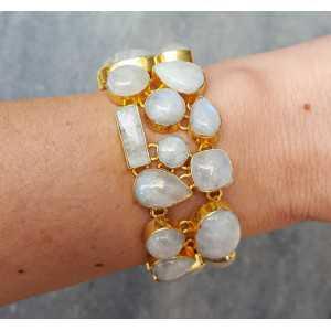 Gold überzog Armband-set mit cabochon Mondsteine