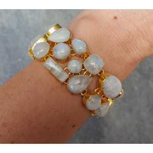 Gold plated bracelet set with cabochon Moonstones