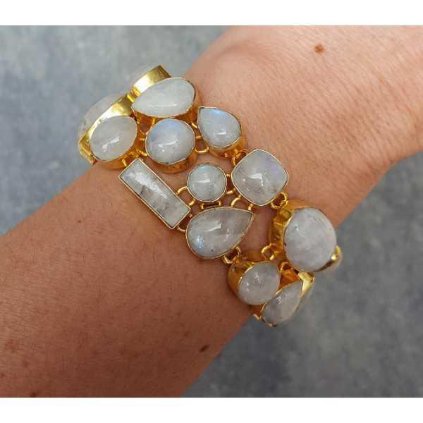 Goud vergulde armband gezet met cabochon Maanstenen