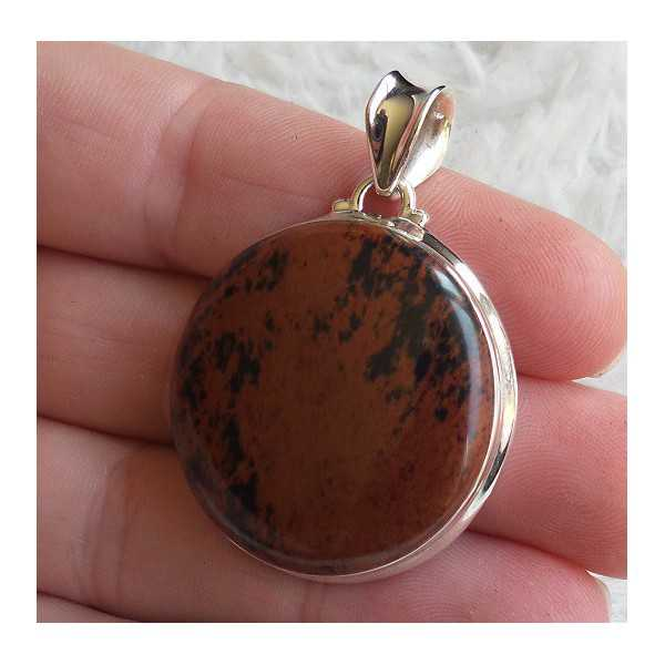 Silver pendant with round mahogany Obsidian