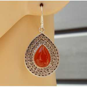 Silver earrings set with cabochon Carnelian Large