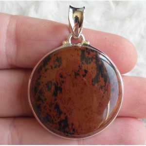 Zilveren hanger met ronde mahonie Obsidiaan